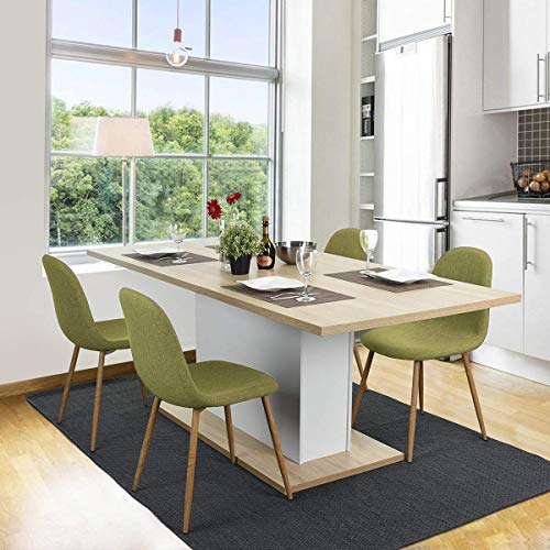 Magshion Side Metal Legs Cushion Seat Back Dining Room Chairs Set of 4 Fabric Green