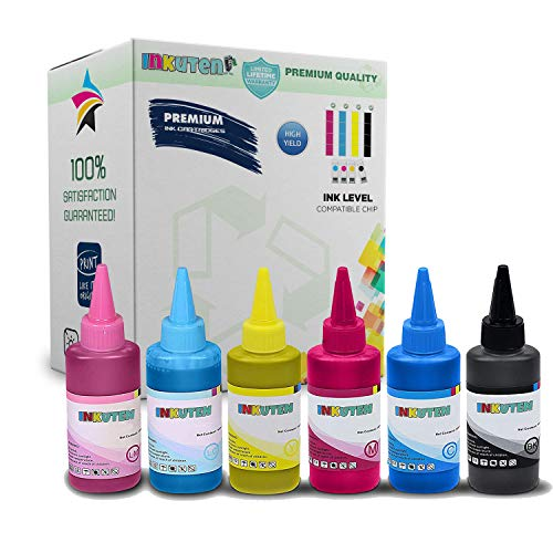 6x100ml INKUTEN Premium Pigmented Sublimation ink for Artisan 1430, 50, 837,730 1400 printers (Best Epson Printer 2019)