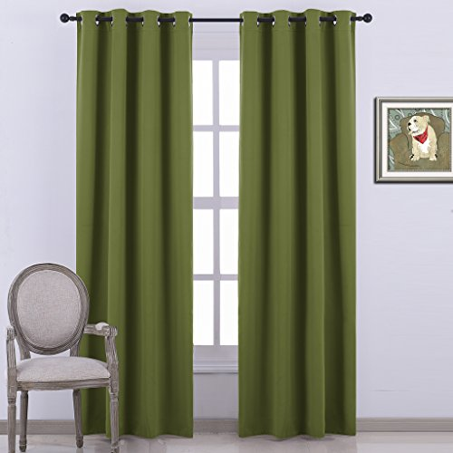 Nicetown Room Darkening Blackout Curtains Window Panel Drapes  Olive Color 1 Panel, 52 by 84