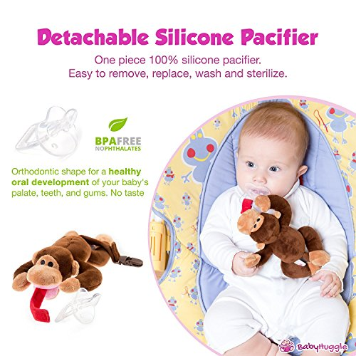Hooggle Baby Pacifier Elephant Pacifier Holder with Detachable Plush Stuffed Animal Toy for Infant Boys Girls 3-18 Months