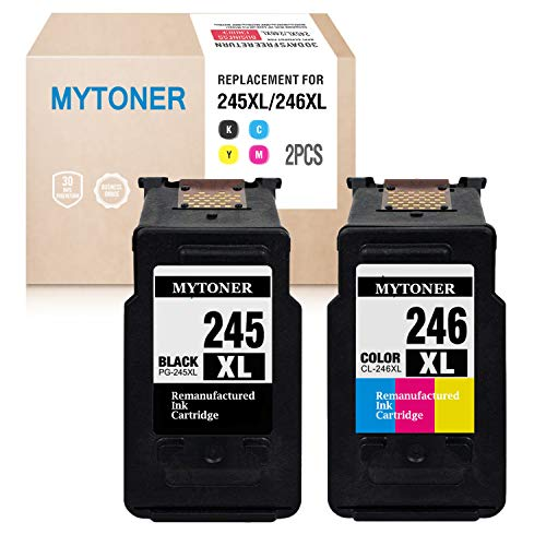 MYTONER Re-Manufactured Ink Cartridge Replacement for Canon PG-245XL CL-246XL PG-243 CL-244 (1 Black, 1 Tri-Color) for Canon Pixma MX492 MX490 MG2420 MG2520 MG2522 MG2920 MG2922 MG3022 MG3029 iP2820