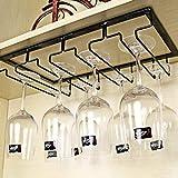 HMANE Wine Glass Rack,4 Rows Under Cabinet Wine Glass Hanger Steamware Holder for Bar Home