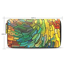 Womens Stained Glass Patterns Leather Long Wallet Purse Case with Card Holder