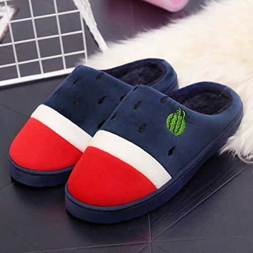 Fankou il creative paio di pantofole di cotone uomini pacchetto con l'inverno piscina home dormire scarpe Jane ha un antiscivolo tendenza moda ,43-44, blu scuro