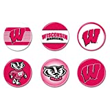 NCAA University of Wisconsin WCR67025010 Round Button (6 Pack), 2''