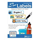 Emily Press Labels - Write Your Own Self-Laminating Waterproof Labels for Baby Bottles, Kid's School Lunch Boxes & School Supplies - Parade Stars design. BPA-Free, Non-PVC.