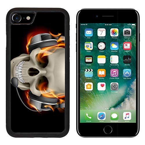 MSD Apple iPhone 8 Case Aluminum Backplate Bumper Snap Case Image ID: 13444537 Flaming Skull with Headphones Illustration on Black Background