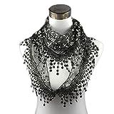 Trendy Women Tassel Sheer Burntout Church Mantilla Scarf Wrap Lace Scarves Wrap Warm Scarf by Qisc (Black)