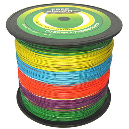 Free Fisher 8 Strands X-Strong Super Dyneema PE Fishing Braids Multicolor 1000m/1000+yds 15# 0.70mm 68kg 150lb For Sale