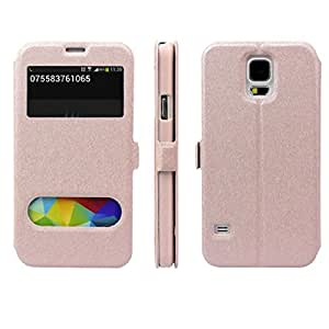 Susenstone(TM) Luxury View Window Leather Case Cover Phone Protector for Samsung Galaxy S5 I9600 (Pink)