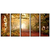 Autumn forest canvas prints, forest print on canvas, autumn wall art canvas designs, framed 5 panel print