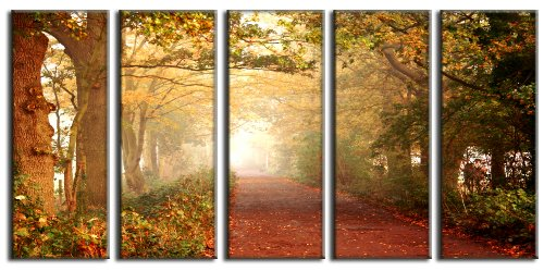 Autumn forest canvas prints, forest print on canvas, autumn wall art canvas designs, framed 5 panel print by Vibrant Canvas Prints