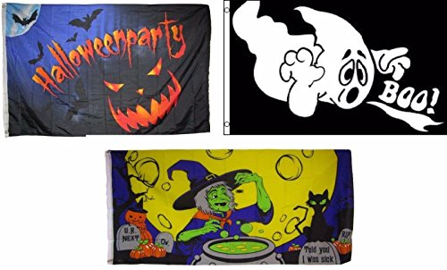 ALBATROS 3 ft x 5 ft Happy Halloween 3 Pack Flag Set #97 Combo Banner Grommets for Home and Parades, Official Party, All Weather Indoors Outdoors ()