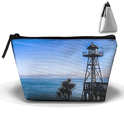 Pier Lights Viewing Tower Makeup Bag Large Trapezoidal Storage Travel Bag Wash Cosmetic Pouch Pencil Holder Zipper Waterproof ()