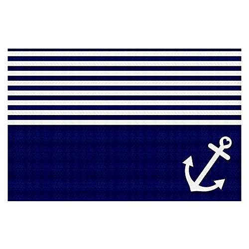 Area Rug, Kitchen Mat, Bath Mat with Chevron Weave Unique, Decorative, Stylish from DiaNoche Designs by Organic Saturation - Navy Blue Love Anchor Nautical by DiaNoche Designs