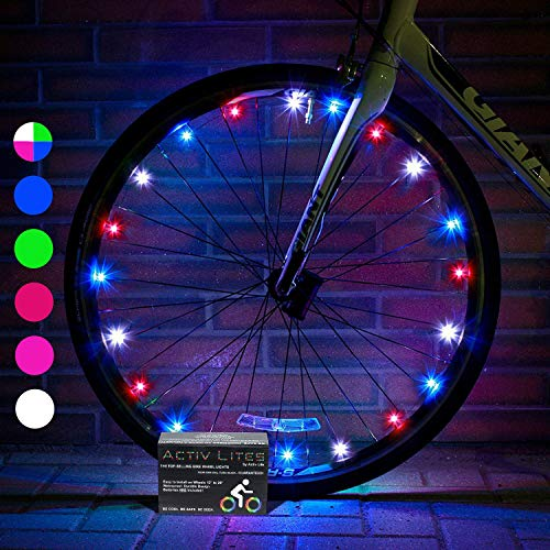 Activ Life LED Bike Wheel Lights Batteries Included! Visible from All Angles Ultimate Safety & Style (1 Tire Pack) (Red, White & Blue, 1-Wheel)