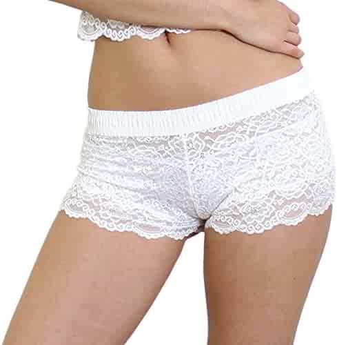 3e3ab491719 Foxers Original Lace Boxer Brief Underwear for Women Sexy Sheer Lace Boy  Shorts