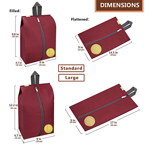 Travel Shoes Bags 4 Pieces Pack – Cheaper Best - Waterproof Durable Versatile Organizers Sleeves Tough Zipper with Fluorescent Mesh Reinforced See-Through Window (Burgundy) by Cheaper Best (Image #1)