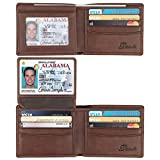 Dante RFID Blocking Cowhide Leather Bifold Wallet for Men with 2 ID Windows(Brown- Sheepskin Leather)