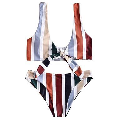 6577cf6236364 ZAFUL Women's Spaghetti Strap Tie Knot Front Stripe Print Stripe Swimsuit  High Waist Solid Two-