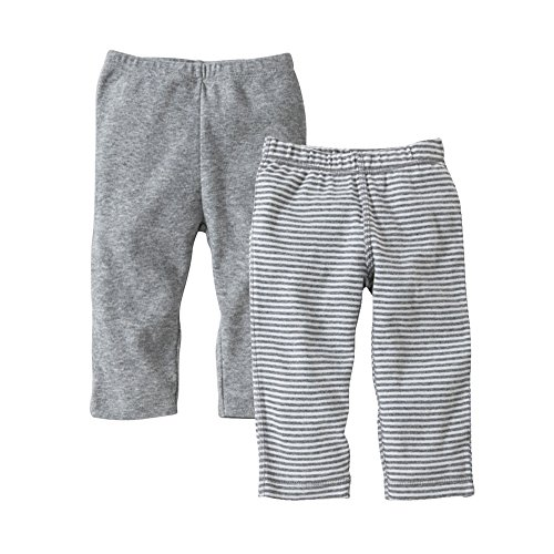 Burt's Bees Baby-Set of 2 Bee Essentials Footless Pants, 100% Organic Cotton, 1 Solid + 1 Stripe, Heather Grey ,0-3 Months