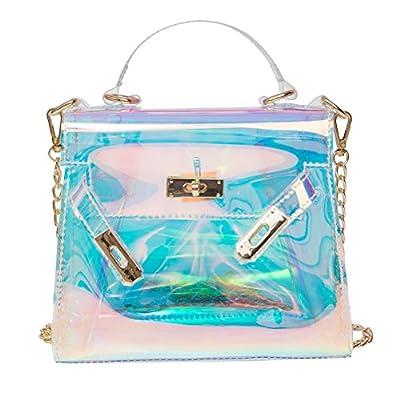 OULII Ladies Transparent Retro Holographic Handbag Shoulder Bag Shining Cross Body Bag with Chains