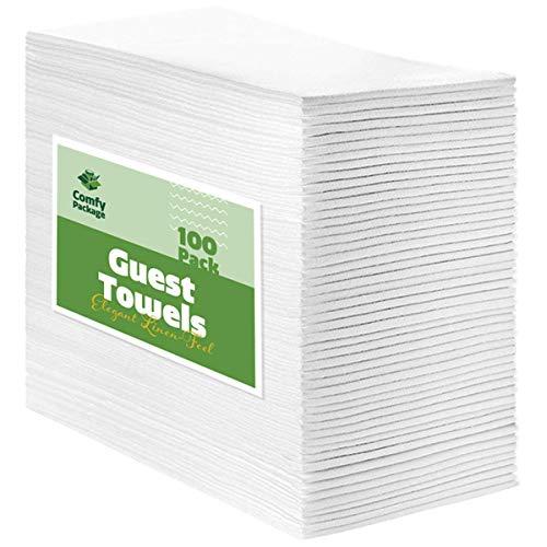 Disposable Guest Towels ([100 Pack] Linen-Feel Guest Towels - Disposable Cloth Dinner Napkins, Bathroom Paper Towels, Wedding)