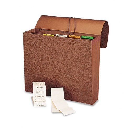 (Smead Products - Smead - Expanding File, 6 Pockets, 1/5 Tab, Leather-Like Redrope, Letter, Red - Sold As 1 Each - Six pockets expand to hold up to 1200 sheets. - Create your own indexes with the included colored vinyl tabs and inserts. - Reinforced redrope gusset. - Redrope stock with leather-like surface. -)