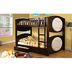 Furniture of America Baseball Bunk Bed with 2-Drawers, Twin