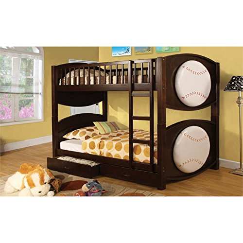 (Furniture of America Baseball Bunk Bed with 2-Drawers,)