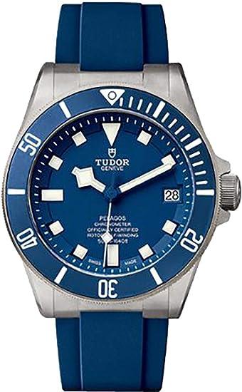 Tudor pelagos 25600tb sobre azul correa de caucho 42 mm reloj: Amazon.es: Relojes