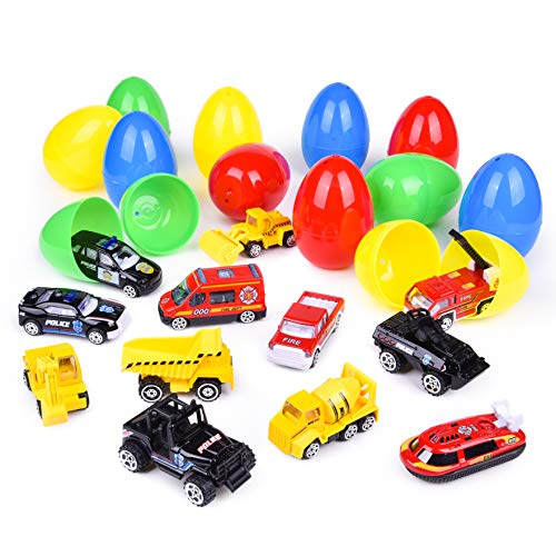 12 PCs Easter Eggs Filled with Diecast Cars, 3.15