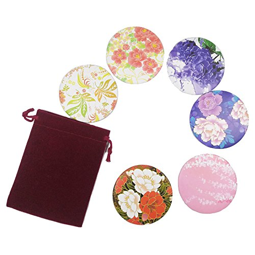 Small Purse Mirror - 6pcs Floral Print Circle Round Makeup Pocket Mirror Adorable Small Gifts