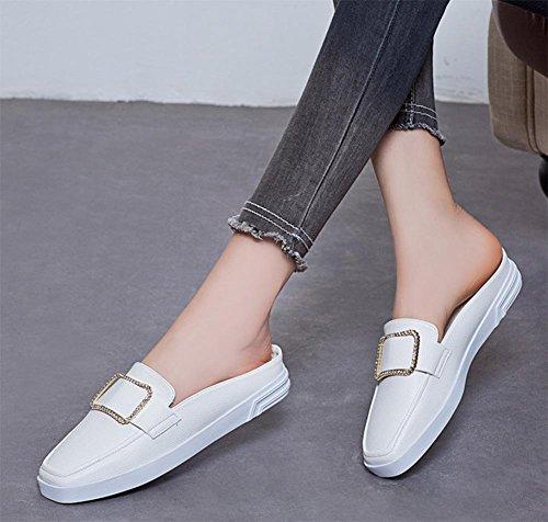 Baotou flachen Sandalen Frau lässig quadratischen Kopf Frauensandelholzen Sommer Sandalen white