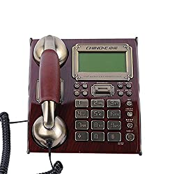 European boutique leather antique household wired fixed telephone creative retro office landline Alarm clock lightning protection hands-free Incoming call report number black walnut red wood