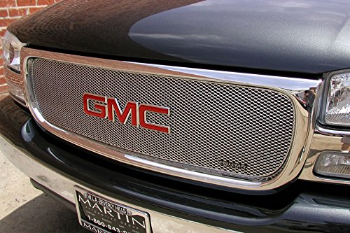 MX Series Silver Upper 1pc Mesh Grill Grille Insert for GMC Sierra Yukon (Gmc Yukon Grillcraft Grille)