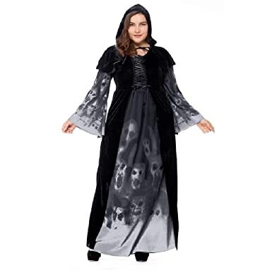 d133f3a5359 YuStar Women s Skull Printed Witch Plus-Size Dress Halloween Cosplay Party  Jumpsuit Fancy Costume (