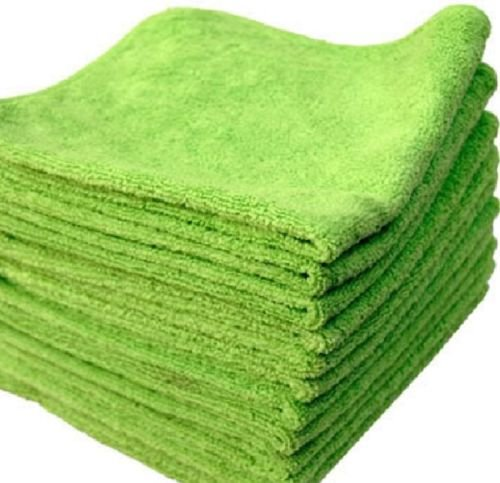 GHP 72-Pcs Lime Green 16''x16'' 330GSM Ultra Absorbent Microfiber Cleaning Towels