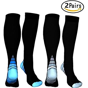 2 Pairs Compression Socks, 20-30 mmhg Medical&Althetic Nursing Running Compression Socks for Men Women Marathon, Faster Recovery, Better Blood ...