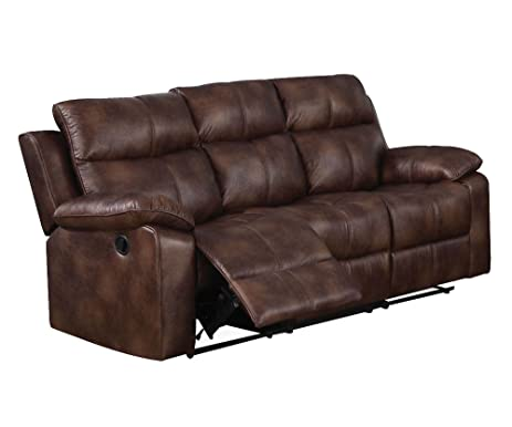 ACME Dyson Light Brown Polished Microfiber Reclining Sofa