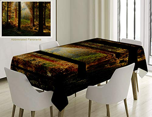 Unique Custom Cotton And Linen Blend Tablecloth Farm House Decor Sunset View Of Dark Pine Forest In Autumn Foggy Scene With Sunbeams Trunks Shadow OraTablecovers For Rectangle Tables, 86 x 55 Inches ()