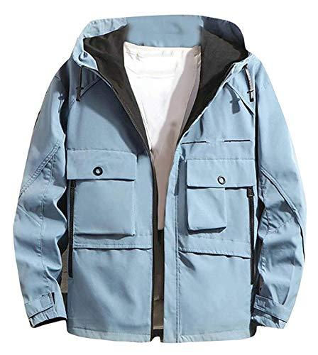 Men Vogue Casual Zip Up Mandarin Collar Jacket Coat Outwear,X-Small,Blue