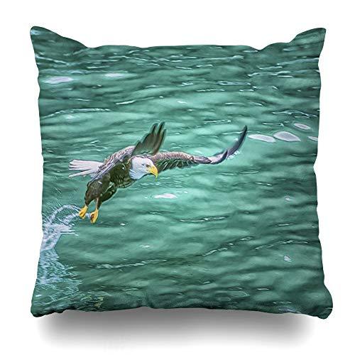 Ahawoso Throw Pillow Cover Bird Alaskan Bald Eagle Swooping Fishdigital Oil for Fish Digital Painting Fishing Design Raptor Decorative Pillowcase Square Size 16