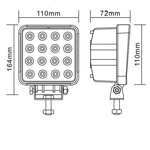 slpro/® 2/X LED 48/W faro da lavoro LED Offroad Luce di inondazione Spotlight riflettore faro faro da lavoro 3800lm NERO ALLUMINIO/ /-escavatore giardino sala officina ecc. /-Trattore/