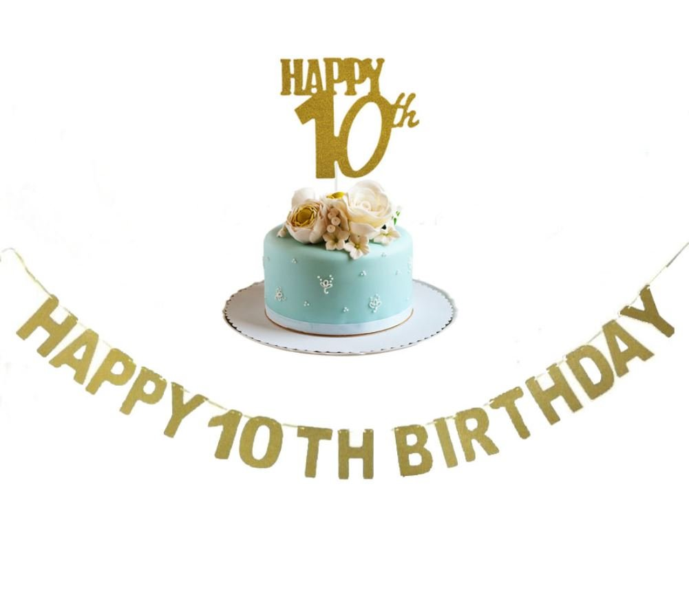 Happy 10TH Birthday Banner and Happy 10th Cake Topper Gold Glitter for 10th Birthday Anniversary Party Decorations Supplies