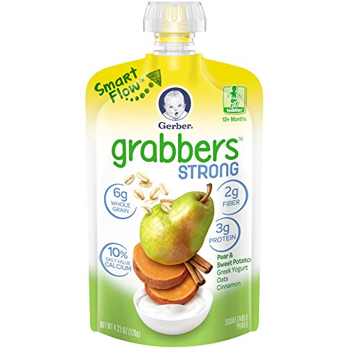Gerber Grabbers Strong Pear & Sweet Potato, Greek Yogurt, Oats, Cinnamon, 4.23 Ounce Pouch (Pack of 12)