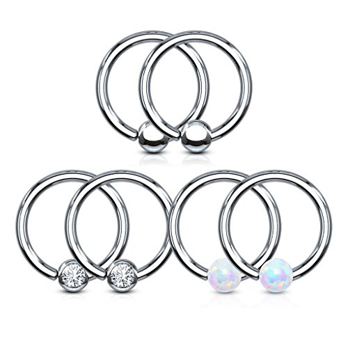 - Pierced Owl Set of 6 Assorted Fixed Ball Captive Bead Rings in 316L Surgical Steel 18GA (1.0mm)