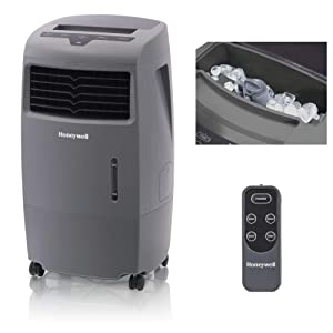 Honeywell 500 CFM Indoor Outdoor Portable Evaporative Cooler with Fan & Humidifier, Washable Dust Filter & Remote Control, CO25AE