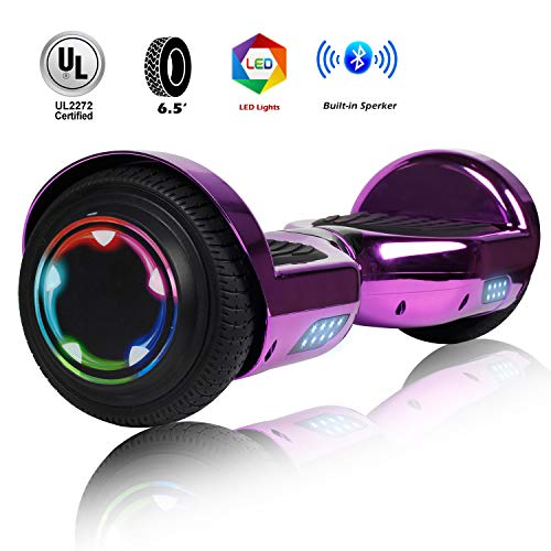 Felimoda 6.5 Inch Self Balancing Hoverboards Scooter Two Wheel Balance Board with LED Light Built-in Wireless Speakers and Carry Bag-UL2272 Certified (Chrome Purple)