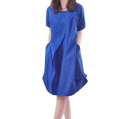 8a72b6134accdb ... Leinen Tunika Sommerkleid Strand Langekleid aus Schulter Schlinge Rock  Hoch Taille Falten Kleid Gedrucktkleid Taschenrock: Amazon.de: Bekleidung